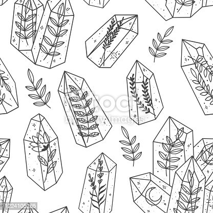 istock Seamless pattern with magic crystals and plans. Esoteric gem background. 1224105265