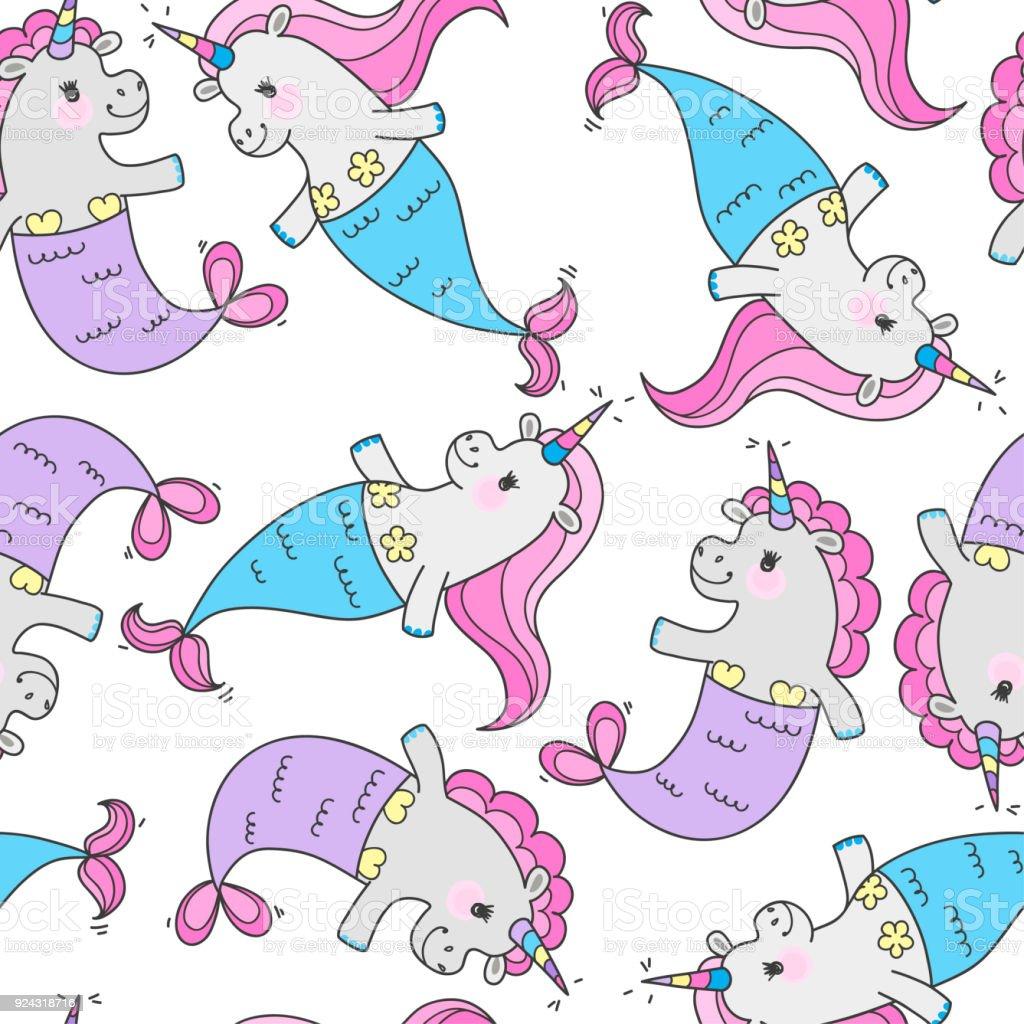 Ilustración de Patrón Sin Fisuras Con Sirenas Lindos Mágicos ...