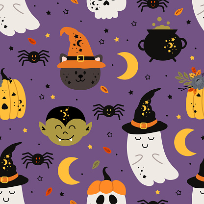 seamless pattern with magic elements