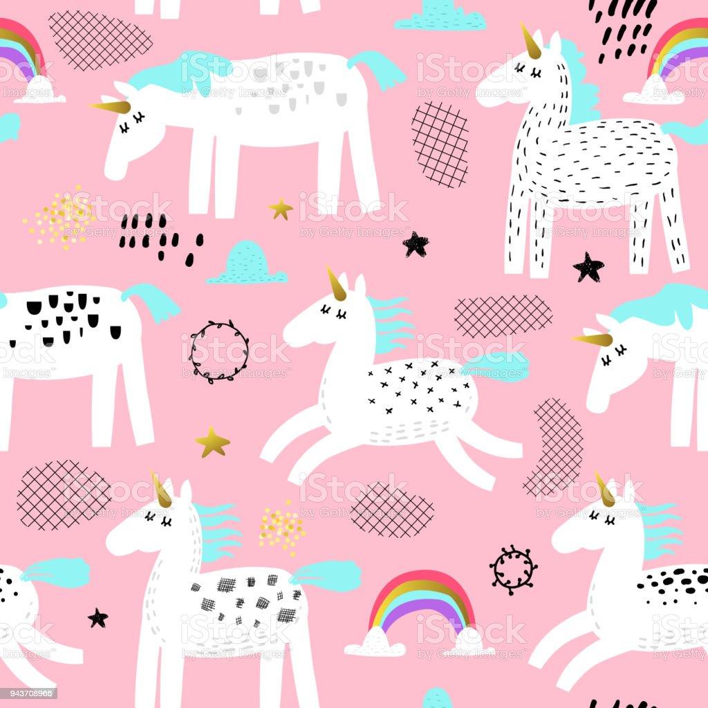 Seamless Pattern Avec Licornes Magiques Et Arcenciel Enfantin Fond
