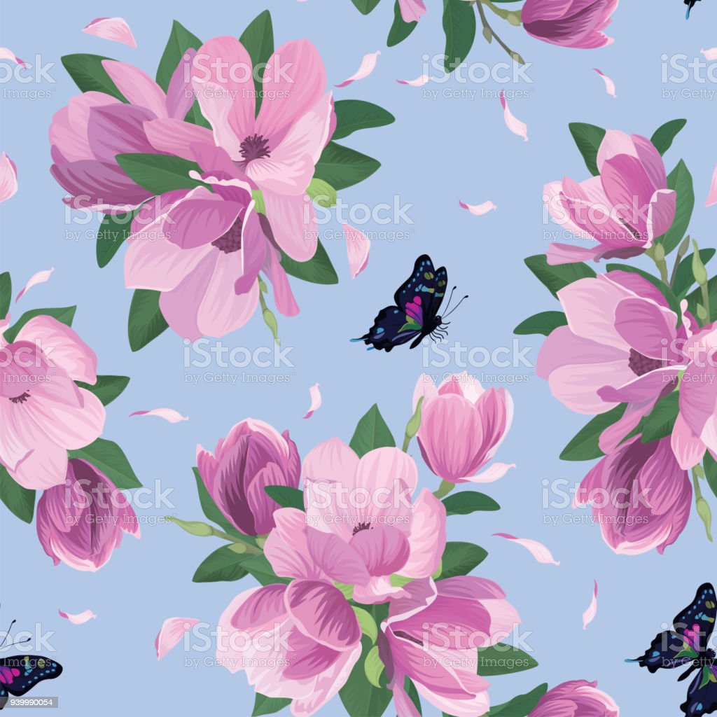 Seamless Pattern With Magnolia Flowers And Butterfly On Blue ...