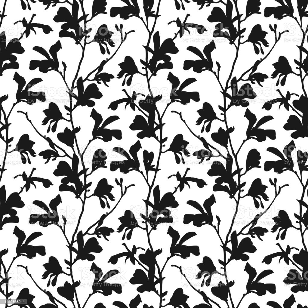Seamless Pattern With Magnolia Tree Blossom In Black And White