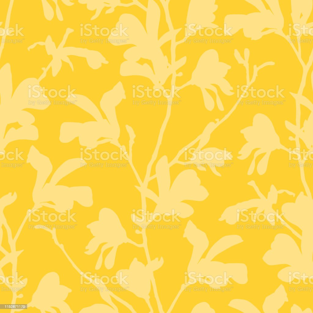 Seamless Pattern With Magnolia Tree Blossom Yellow Floral