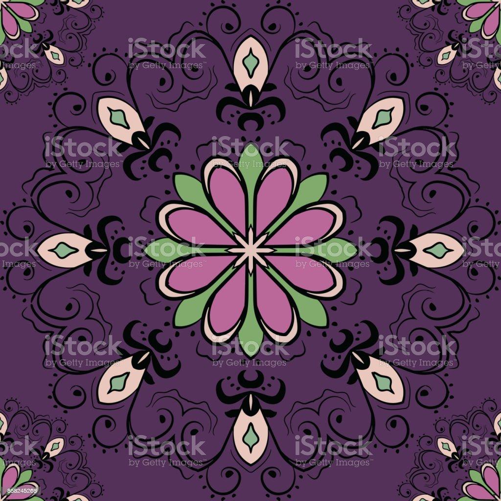 Ilustración De Patrón Sin Fisuras Con Mandalas En Colores Hermosos