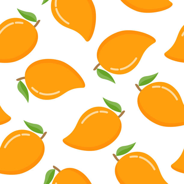 Seamless pattern with mango on a white background Seamless pattern with mango. Vector illustration, isolated on white background mango stock illustrations