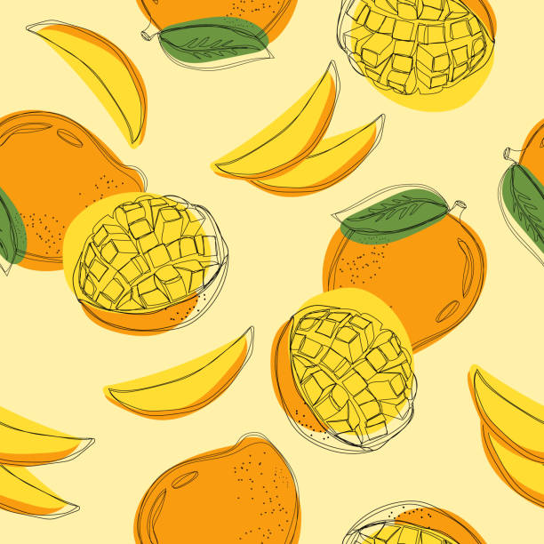 Seamless pattern with mango. Сontinuous line hand drawn vector illustration. Seamless pattern with mango. Сontinuous line hand drawn vector illustration. mango stock illustrations