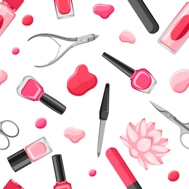 seamless pattern with manicure tools - отвести взгляд stock illustrations