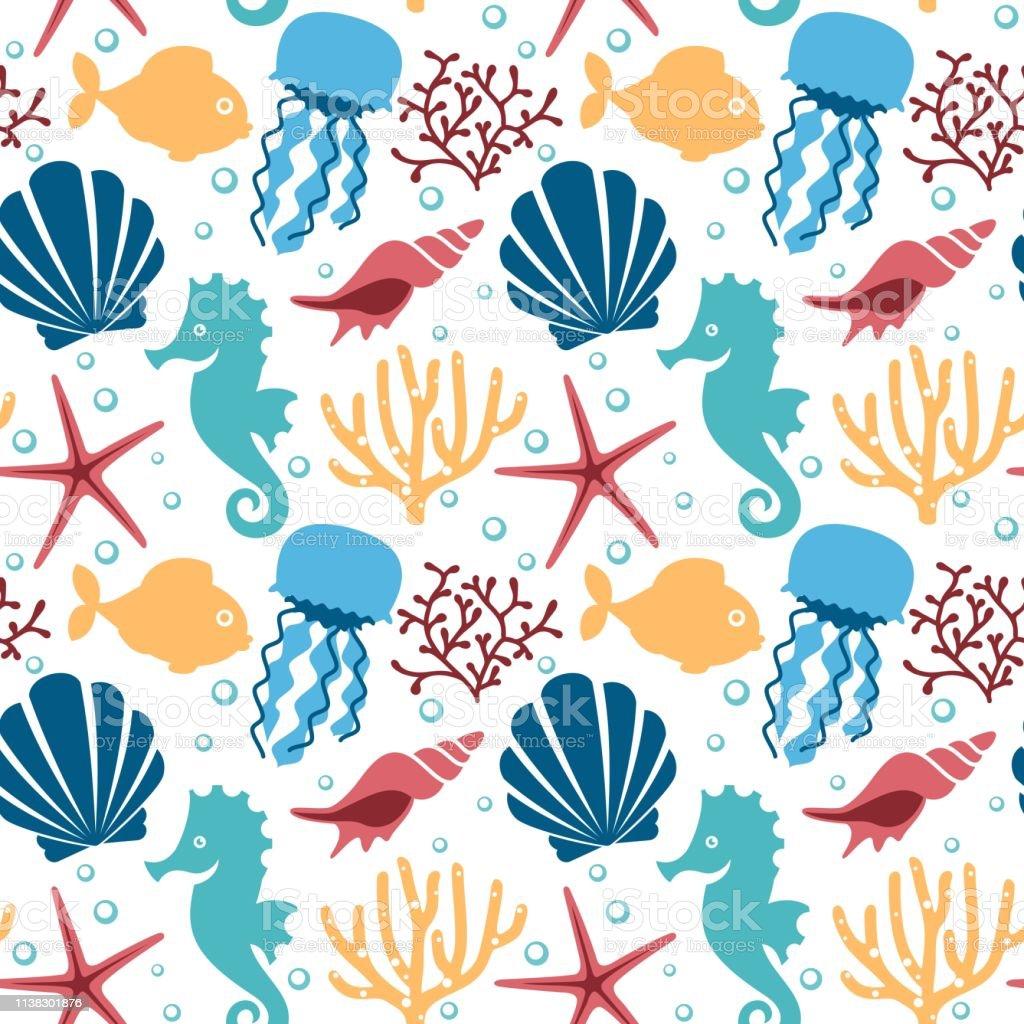 Seamless pattern with marine animals.