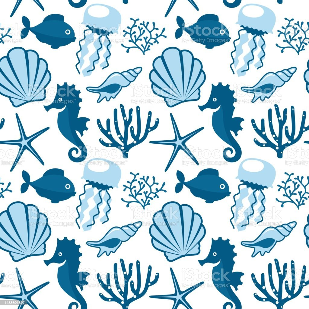 Seamless pattern with marine animals.
