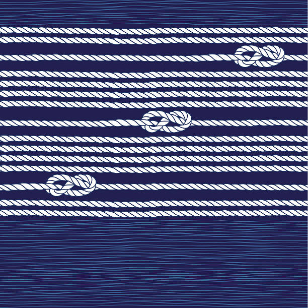 Seamless pattern with marine rope and knots. Endless background with marine rope. Abstract marine background. knotted wood stock illustrations