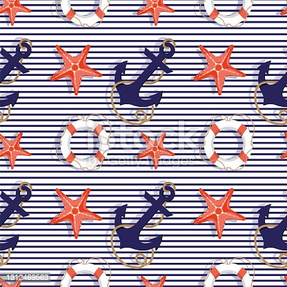 istock Seamless pattern with marine-style items on a blue-and-white stripe background. A background for your text and a print for textiles or office supplies. An element of marine or summer design. EPS 10. 1312469563
