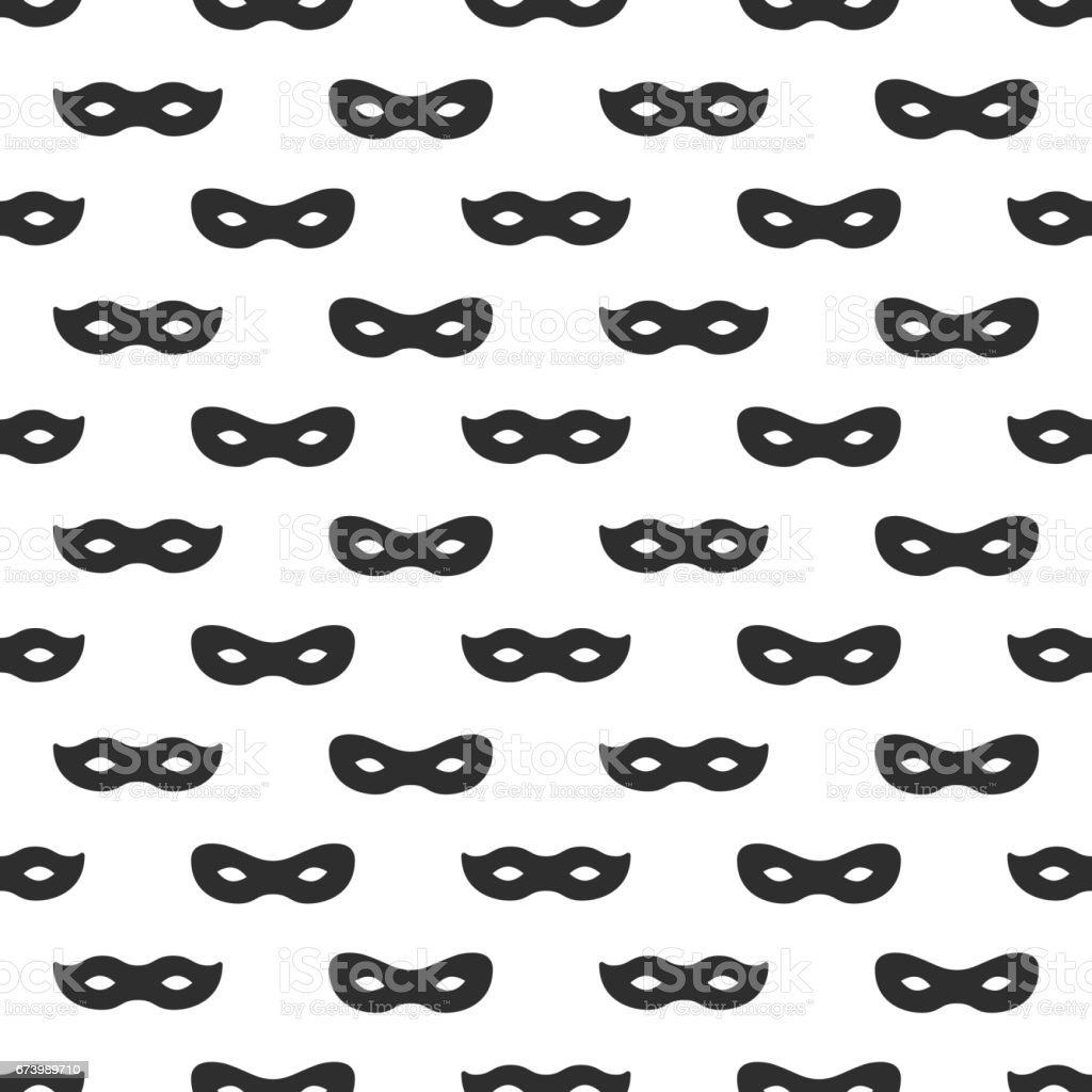Seamless Pattern With Mask Black And White Carnival Simple Design