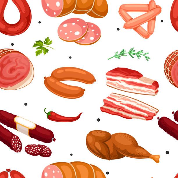 nahtlose muster mit fleischprodukten. abbildung von würstchen, speck und schinken - schweinebauch stock-grafiken, -clipart, -cartoons und -symbole