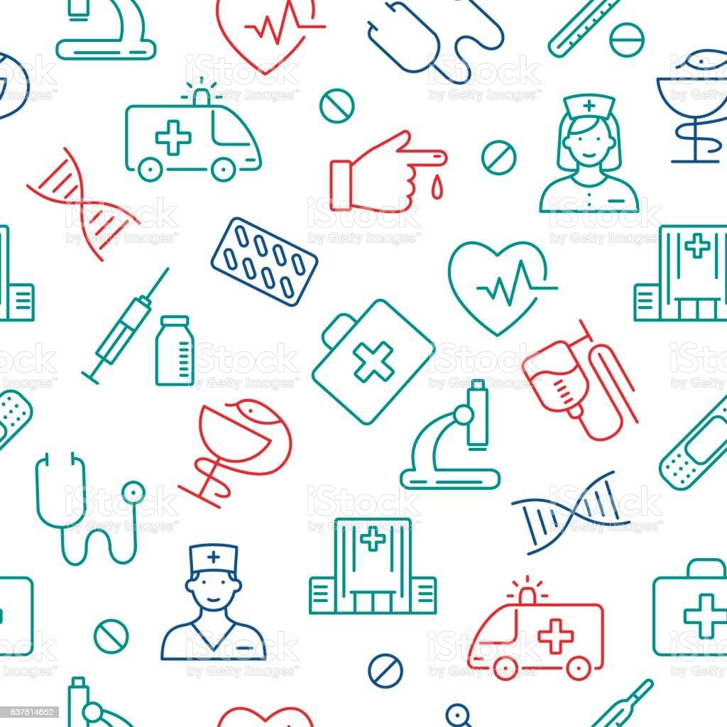 Seamless pattern with medical symbols. vector art illustration