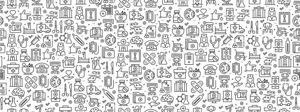 ilustrações, clipart, desenhos animados e ícones de padrão sem costura com ícones de medicina e saúde - texturas de riscos