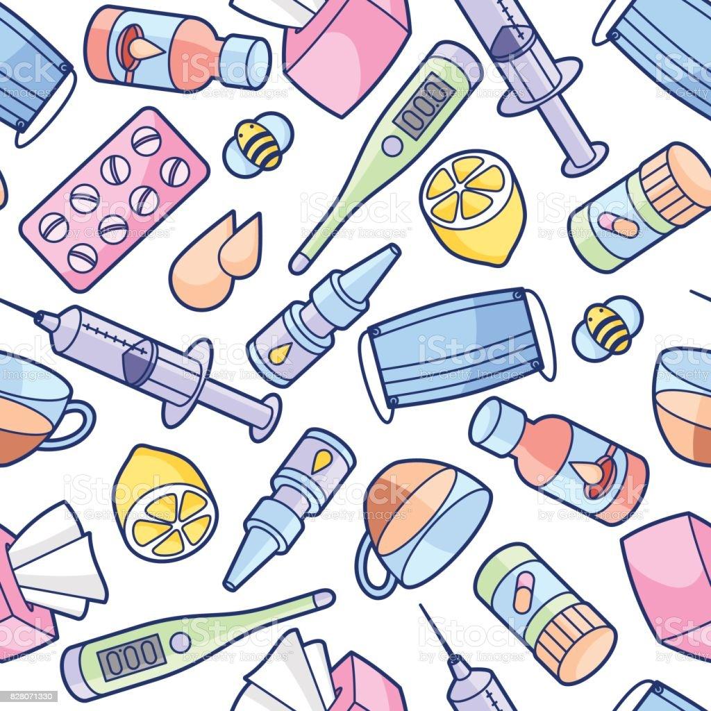 Ilustración de Patrón Transparente Con Objetos Médicos Y Medicinas ...