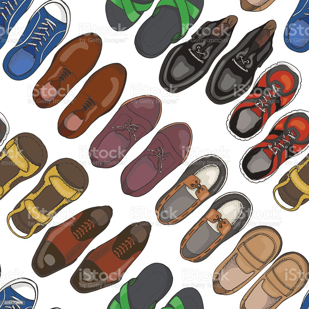 Seamless pattern with men's shoes vector art illustration