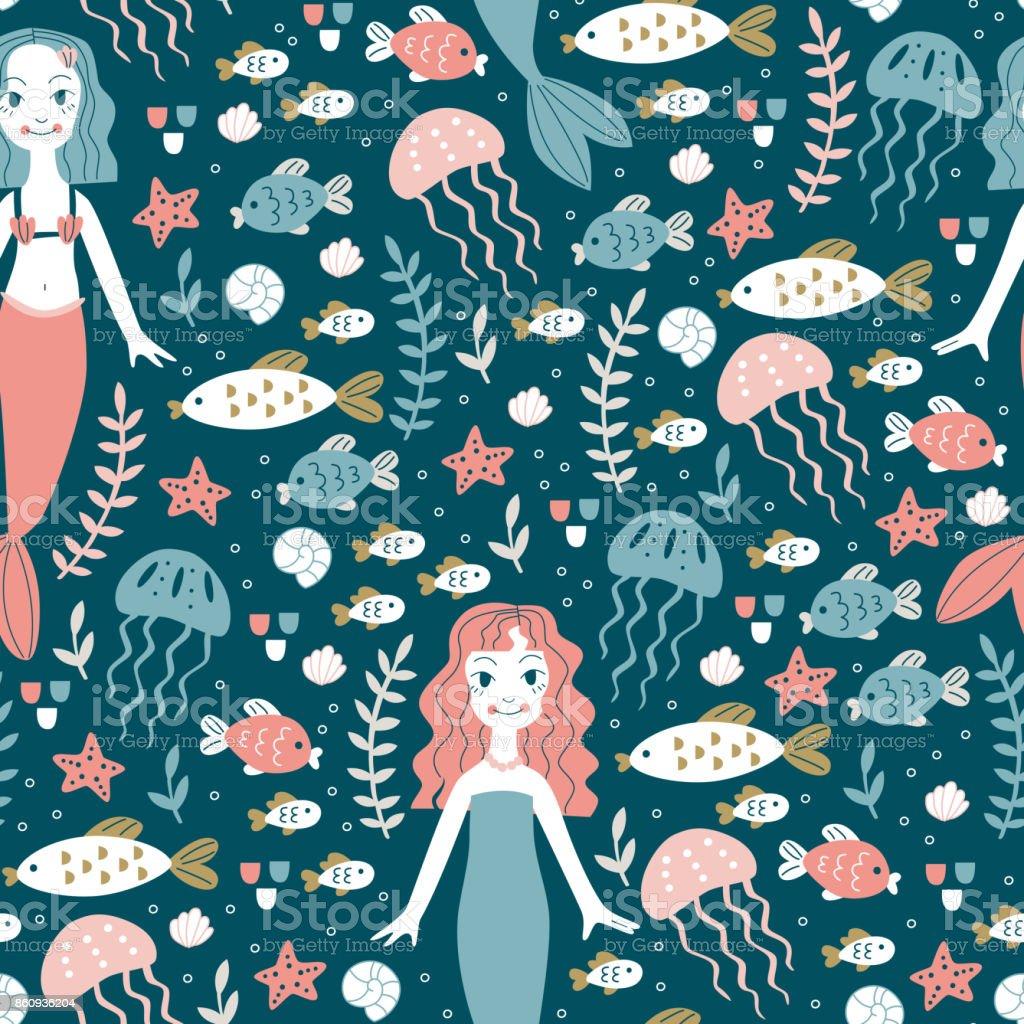 Seamless Pattern with Mermaids. vector art illustration