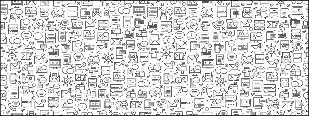Seamless Pattern with Message Icons Seamless Pattern with Message Icons backgrounds icons stock illustrations