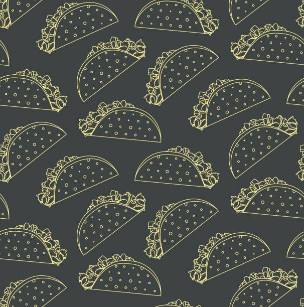 seamless pattern with mexican fast food outline taco on black background - taco stock illustrations, clip art, cartoons, & icons