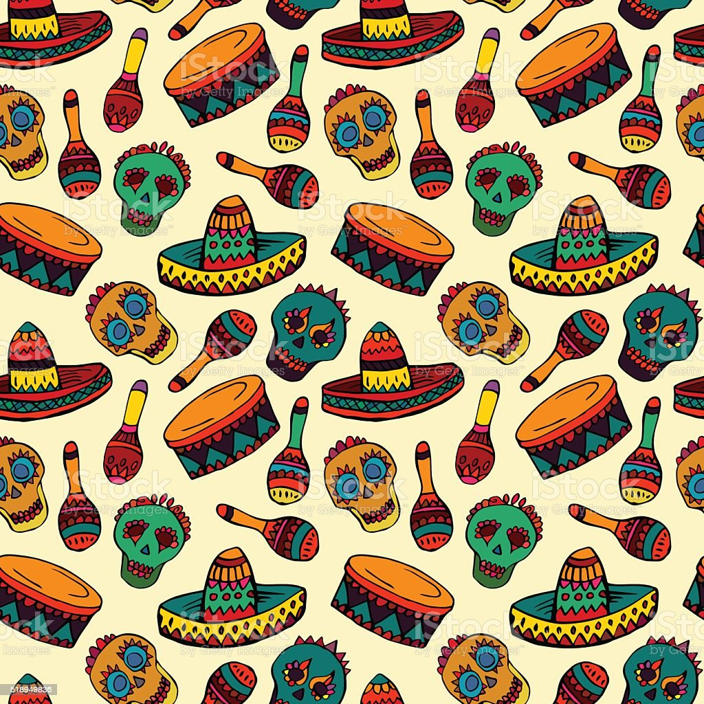 Seamless Pattern With Mexican Symbols Stock Vector Art More Images