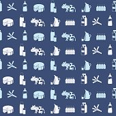 Seamless pattern with milk icons