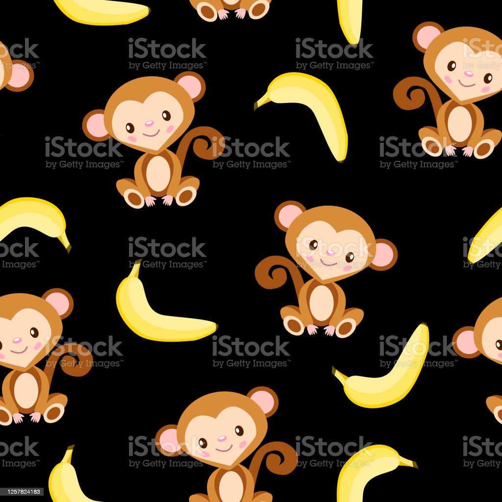 モンキーとイエローバナナとのシームレスなパターン黒の背景フラットな漫画のスタイル健康的な食べ物ビーガンとベジタリアンのライフスタイル子供のためにはがき 壁紙 アフリカのベクターアート素材や画像を多数ご用意 Istock