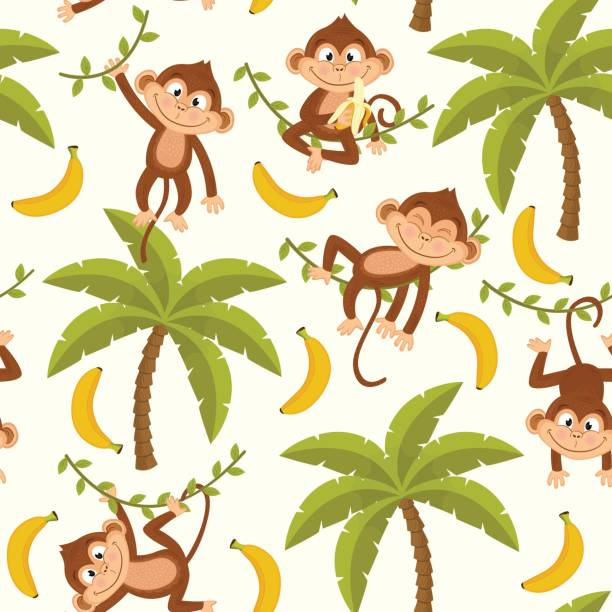 seamless pattern with monkey on palm tree - ilustración de arte vectorial
