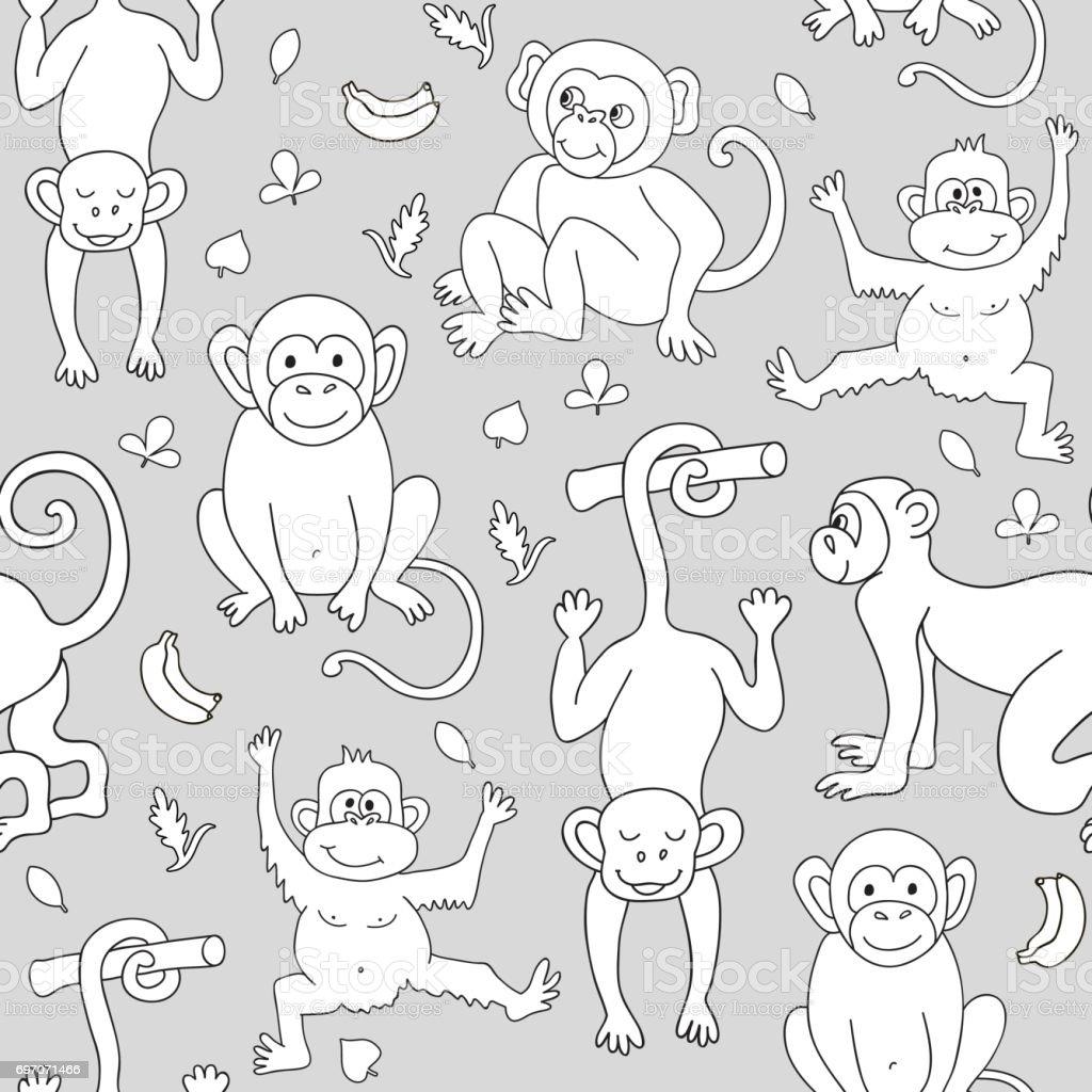 Nahtlose Muster mit Affen, Bananen und Blätter. – Vektorgrafik