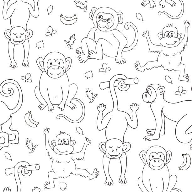 Vectores de Libro Para Colorear Con Los Plátanos Mono y ...