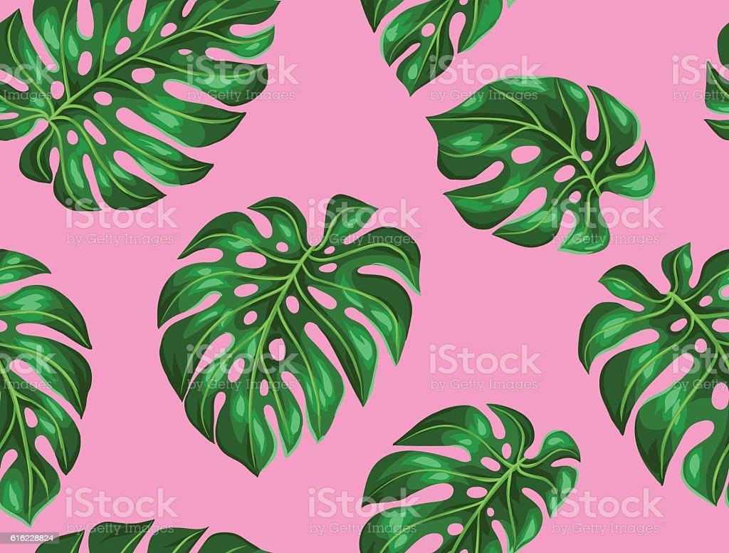 Excelente patrón con Monstera hojas. Decorativo imagen de follaje tropical - ilustración de arte vectorial
