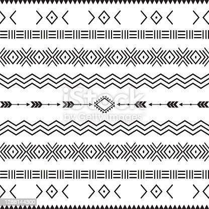 seamless pattern with motif Aztec tribal geometric shapes. seamless traditional textile bandhani sari border. creative seamless indiant bandhani textures border