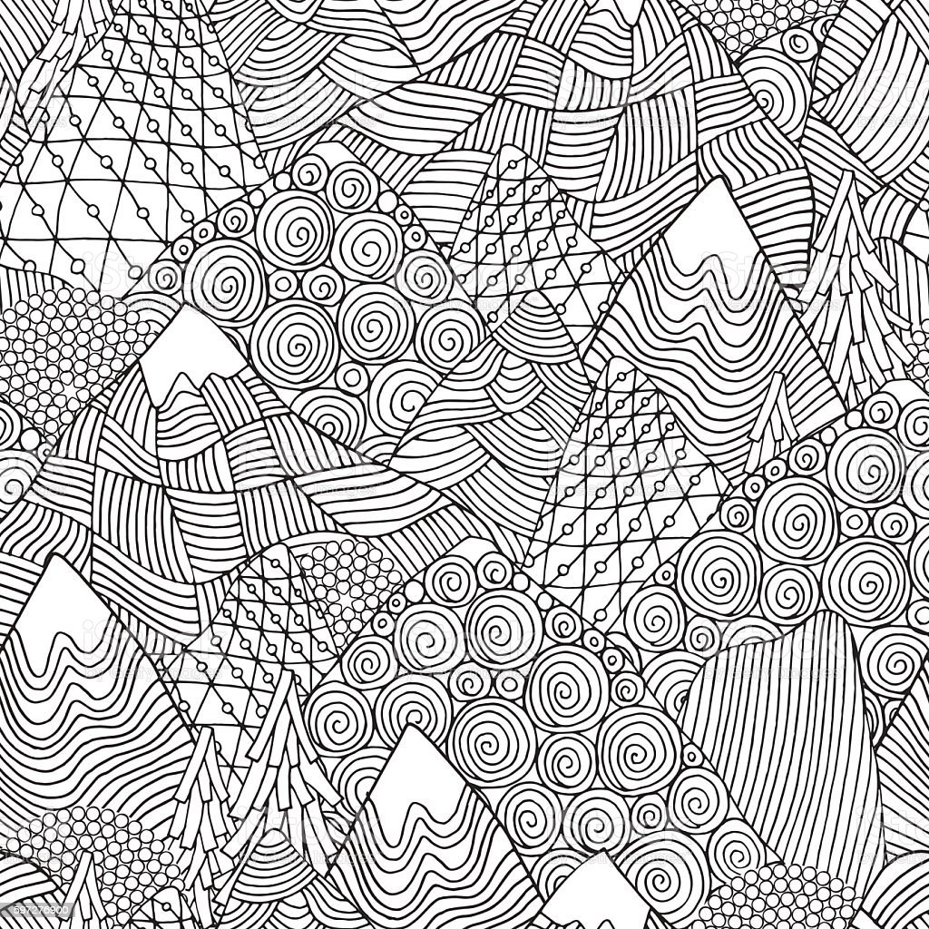 Seamless Pattern With Mountains Adult Coloring Book Page Stock ...
