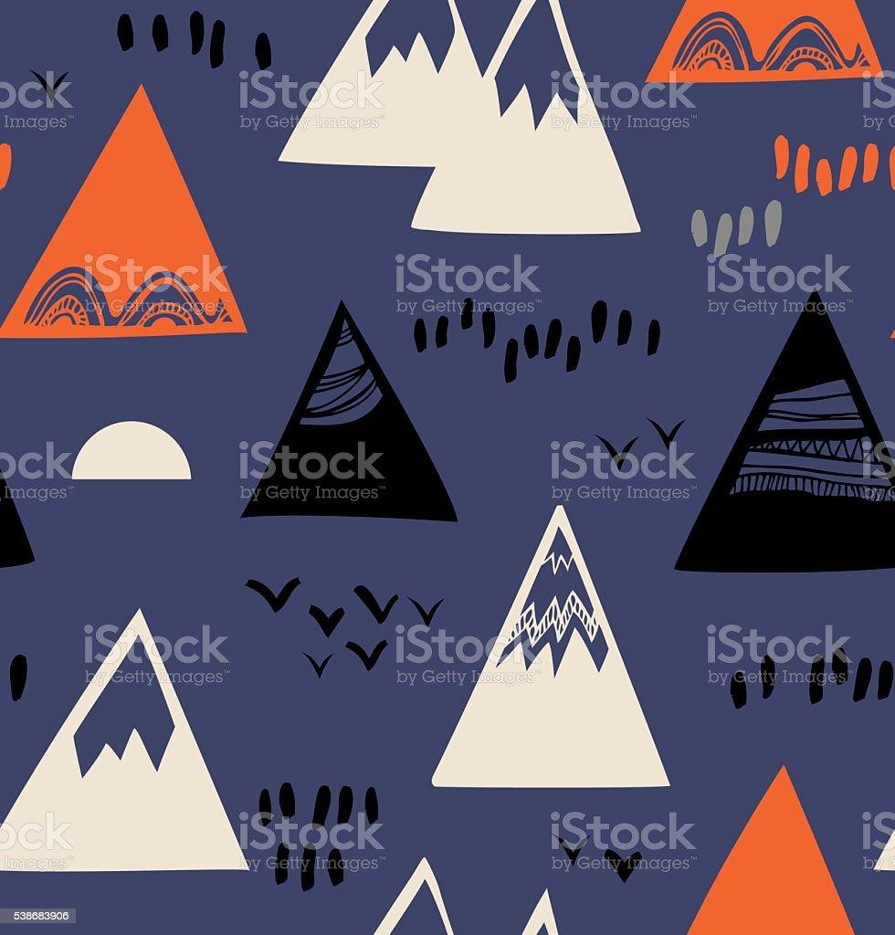 Seamless pattern with mountains, rocks in scandinavian style. vector art illustration