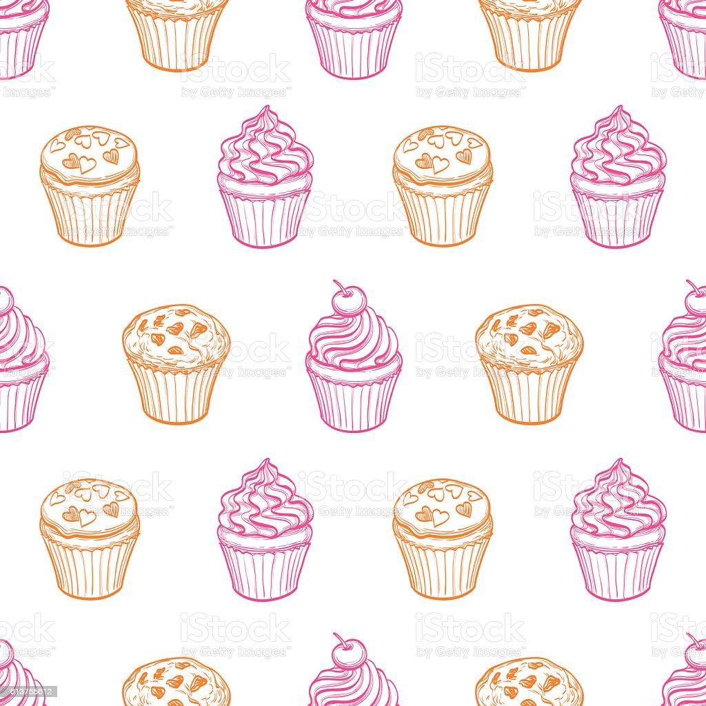seamless pattern with muffins and cupcakes stock vektor art und mehr bilder von bildhintergrund. Black Bedroom Furniture Sets. Home Design Ideas