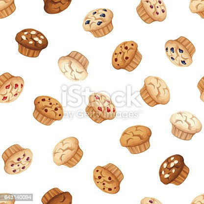 istock Seamless pattern with muffins. Vector illustration. 643140094