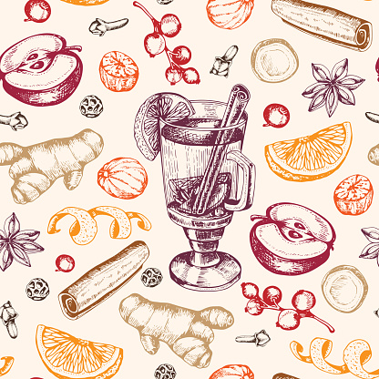 Seamless pattern with mulled wine and spices.