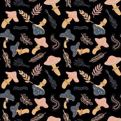 Seamless pattern with mushrooms, leaves and worms. Vector doodle print for fabric, textile, background, wallpaper, wear, cloth