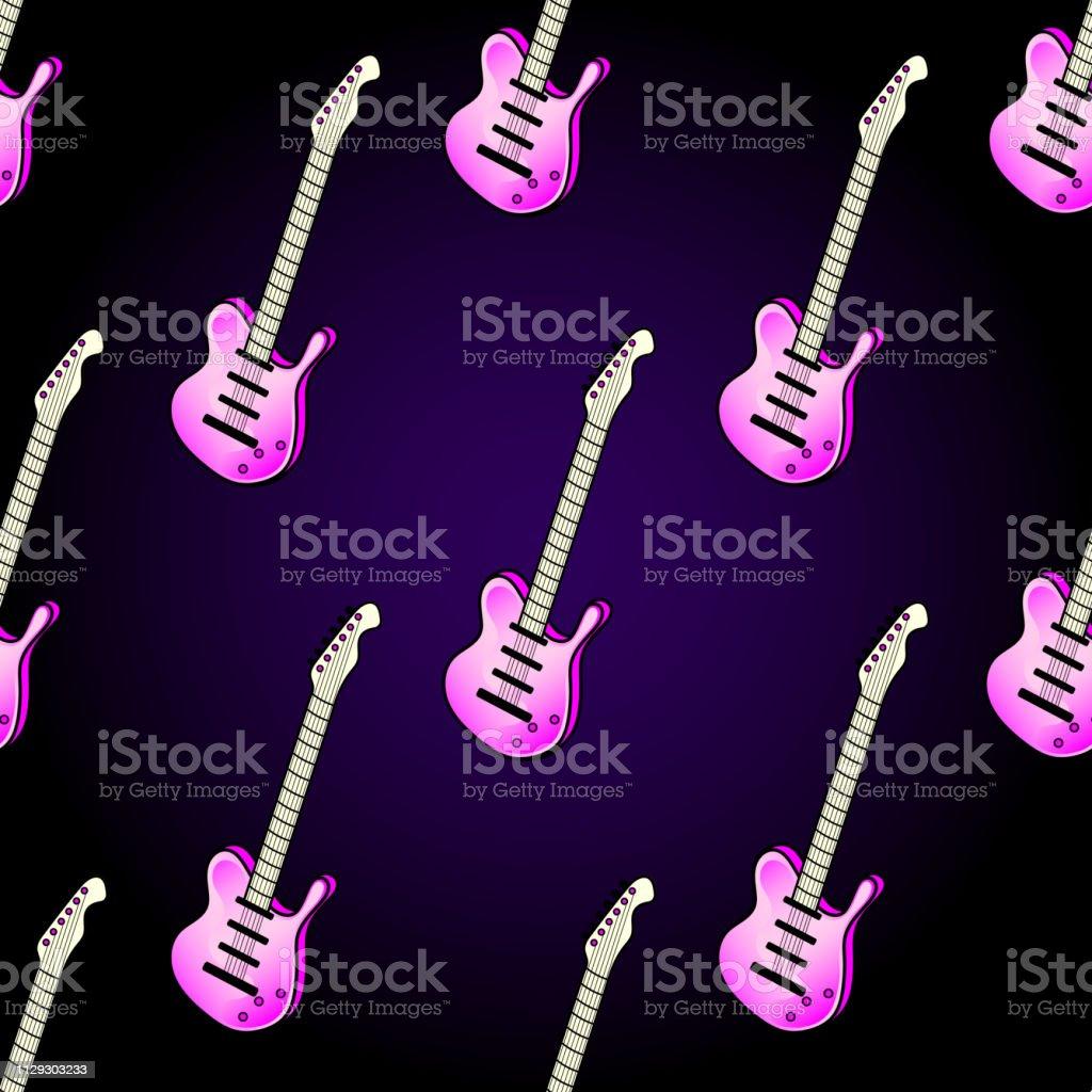 楽器とのシームレスなパターンピンクのエレク トリック ギターが暗い