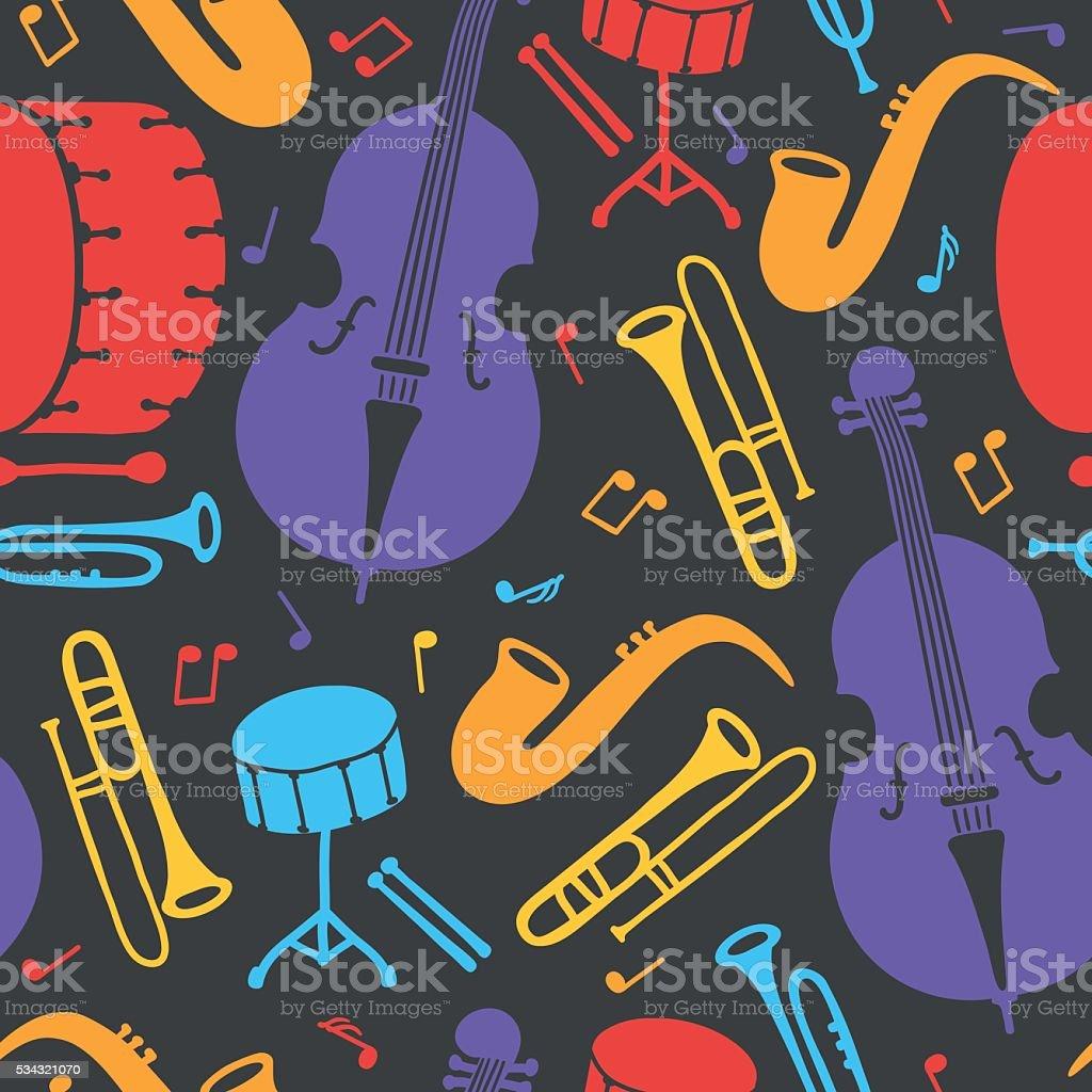 Seamless pattern with music instruments - trombone, trumpet, doubass, saxophone vector art illustration