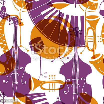Vector Seamless pattern with music instruments - trombone, trumpet, double bass, saxophone, bass drum and snare drum. Perfect for wallpaper, music festival posters and jazz concerts.