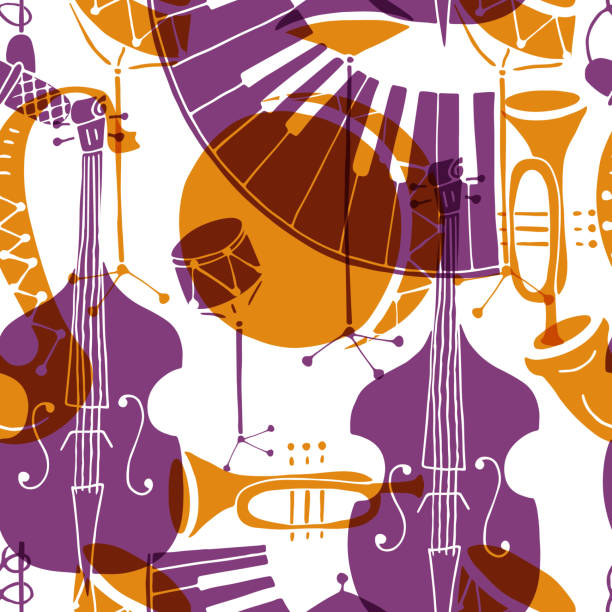seamless pattern with music instruments - instrument perkusyjny stock illustrations