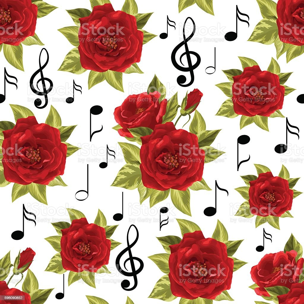 Seamless pattern with music notes and red roses royalty-free seamless pattern with music notes and red roses stock vector art & more images of abstract