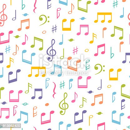 Seamless pattern with music notes. Hand drawn background with music symbols. Melody signs. Vector illustration
