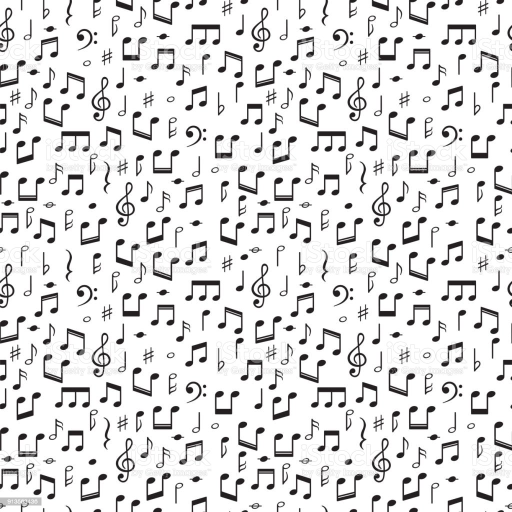 Seamless pattern with music notes. Hand drawn background with music symbols vector art illustration
