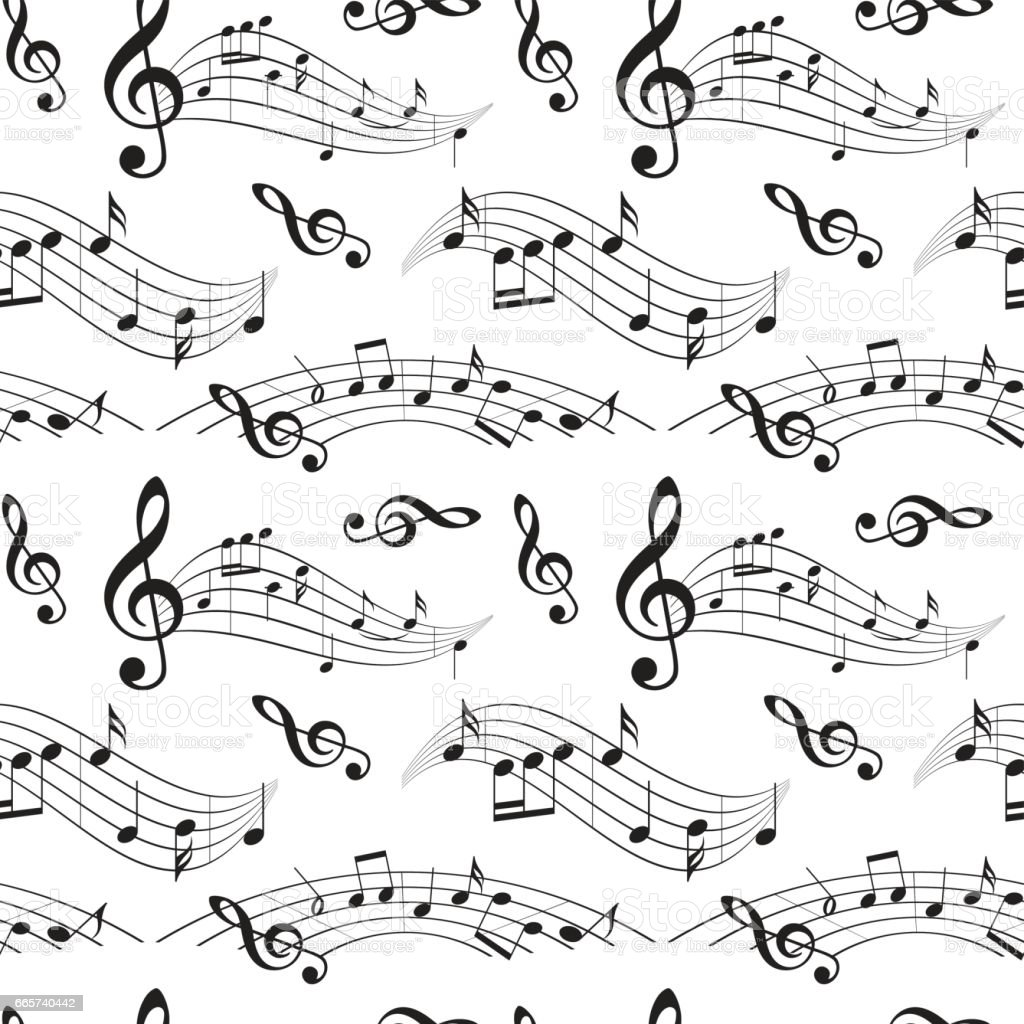 seamless pattern with music notes - vector background vector art illustration
