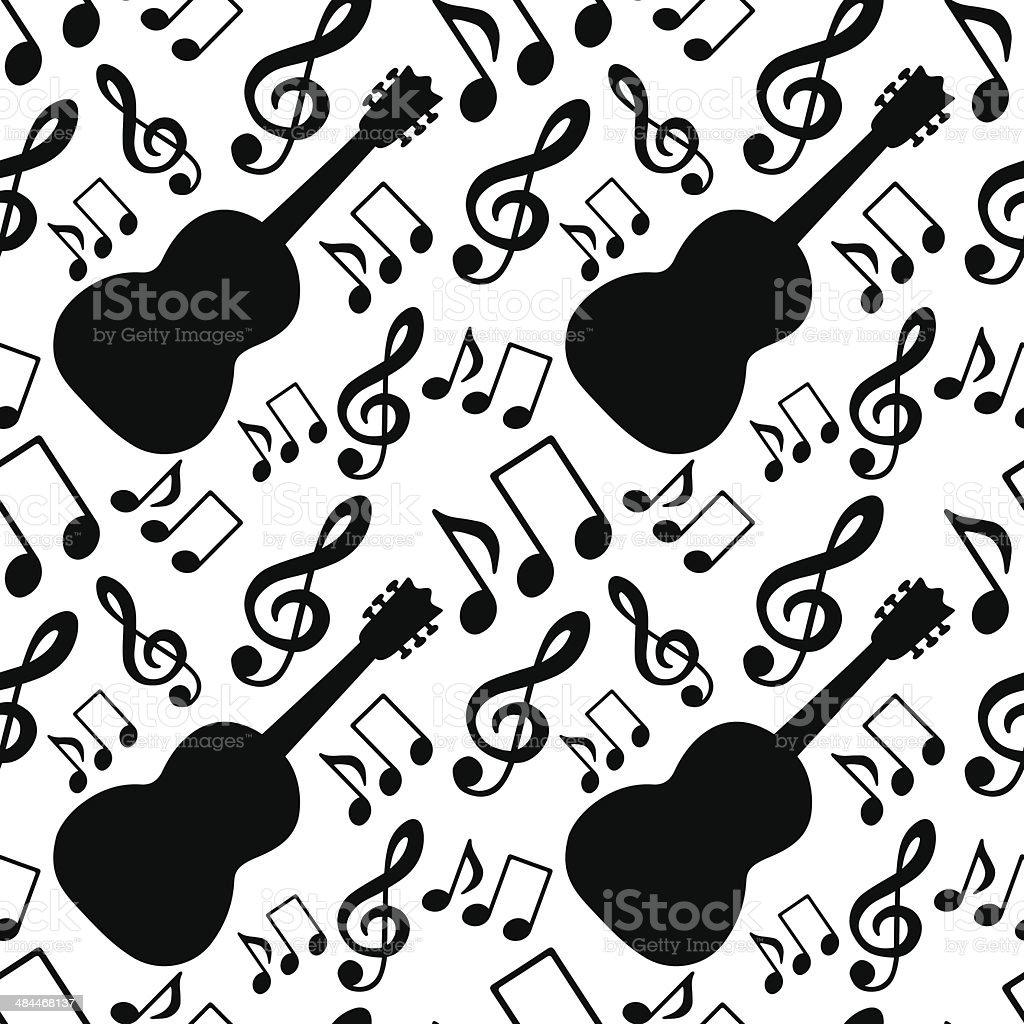 Ilustración De Patrón Sin Costuras Con Notas Musicales Clave De Sol