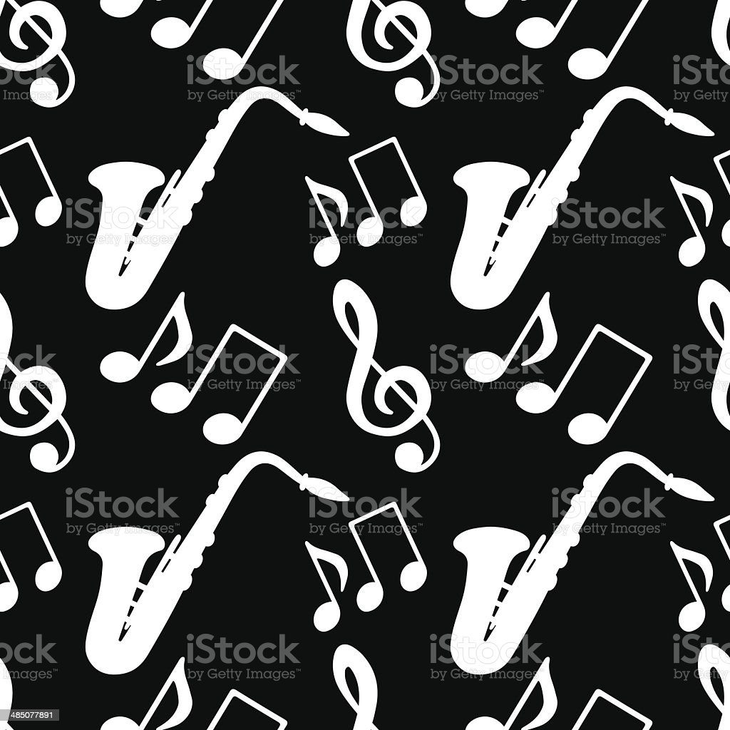 Seamless pattern with musical notes, treble clef, saxophone royalty-free stock vector art