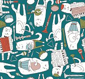 Seamless pattern with musician cats and music instruments