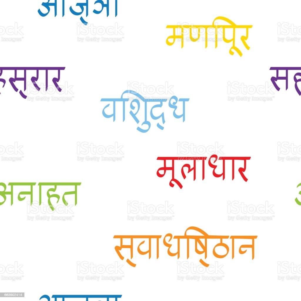 seamless pattern with names of chakras in Sanskrit vector art illustration